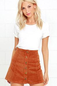 White Crow Austin Brown Corduroy Mini Skirt