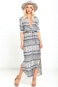 White Crow Red River Navy Blue Print Shirt Dress