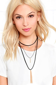 image Bustling Boulevard Black and Gold Layered Choker Necklace