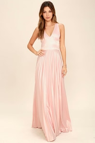 Epic Night Blush Pink Satin Maxi Dress 1