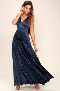 Epic Night Navy Blue Satin Maxi Dress