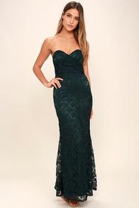 Inherent Beauty Dark Green Lace Strapless Maxi Dress