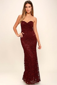 Inherent Beauty Burgundy Lace Strapless Maxi Dress