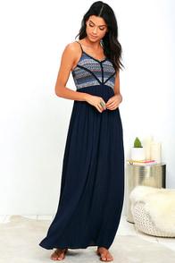 image Playa Ciudad Navy Blue Print Maxi Dress