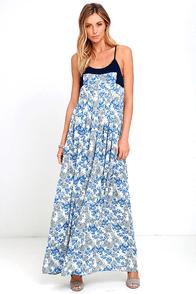 image Posy Perfect Blue Floral Print Maxi Dress