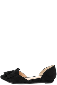CL by Laundry Seline Black Suede D'Orsay Flats