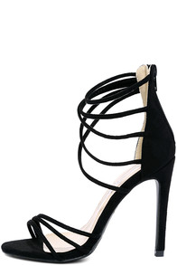 Downright Darling Black Suede High Heel Sandals Image