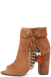 image Jessica Simpson Kailey Canela Brown Suede Leather Booties