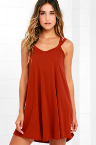 image RVCA Like It Rust Orange Swing Dress