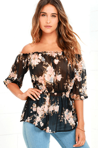 Floral It's Worth Black Floral Print Off-the-Shoulder Top