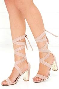 image Looky-Loo Nude Suede Lace-Up Heels