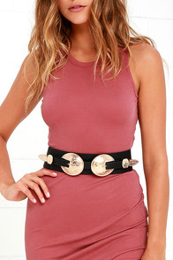 Worldwide Wonder Black and Gold Double Buckle Belt