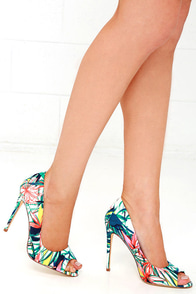 image Jungle Boogie Floral Peep-Toe Pumps