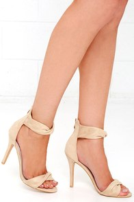 Impress Me Nude Suede Ankle Strap Heels