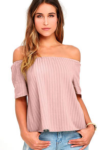 image Rhythm Melody Mauve Off-the-Shoulder Top
