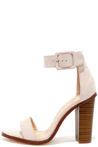 image Running This Beige Suede Ankle Strap Heels