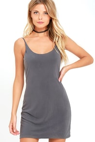 Fine Day Washed Charcoal Dress