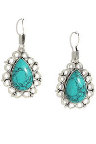image Days of Yore Silver and Turquoise Earrings
