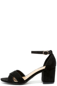 image Chic Solution Black Suede Ankle Strap Heels