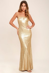 Majestic Muse Gold Strapless Sequin Maxi Dress