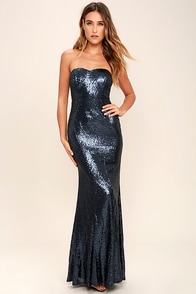 Majestic Muse Navy Blue Strapless Sequin Maxi Dress