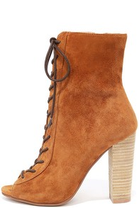 Chinese Laundry Lawless Caramel Kid Suede Lace-Up Booties