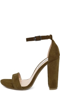 Steve Madden Carrson Olive Suede Leather Ankle Strap Heels