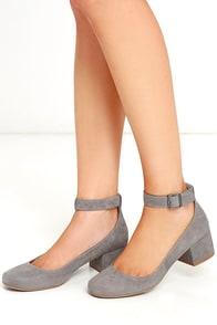 Steve Madden Wails Grey Suede Ankle Strap Heels
