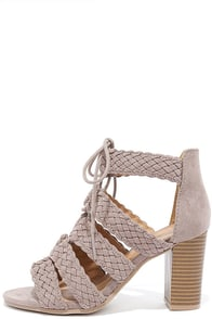 Brunch Date Taupe Suede Lace-Up Heels Image