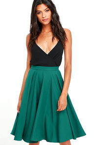 Dance Montage Dark Green Midi Skirt