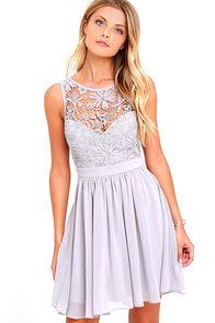 Jolly Song Grey Lace Skater Dress