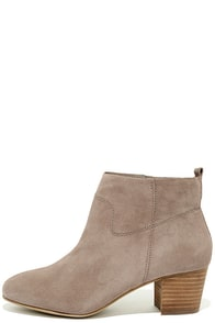 image Steve Madden Harber Taupe Suede Leather Ankle Booties