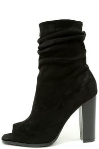 image Streets of Manhattan Black Suede Peep-Toe Booties