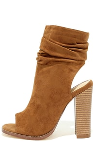 Only the Latest Tan Suede Peep-Toe Booties Image
