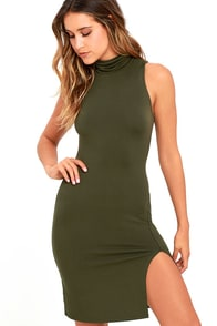 image Love It Olive Green Bodycon Dress