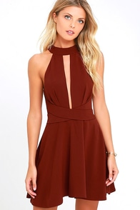 Cross Your Heart Wine Red Skater Dress