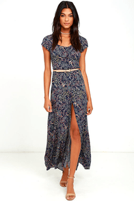 image Black Swan Michel Navy Blue Floral Print Maxi Dress