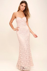 Inherent Beauty Blush Pink Lace Strapless Maxi Dress