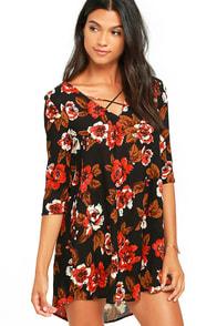 image Amuse Society Casyn Black Floral Print Shift Dress