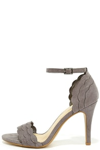 What's Scallop Grey Suede Ankle Strap Heels