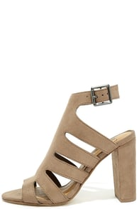 Like to Party Cement Grey Suede High Heel Sandals