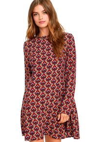 image Glamorous Daylily Darling Burgundy Print Dress