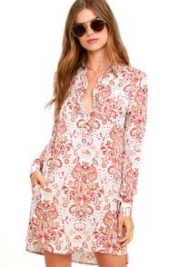 image White Crow Adrift Beige Print Shirt Dress