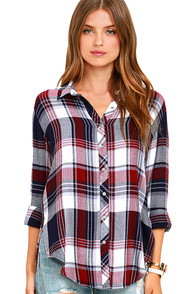 image White Crow Shadow Chaser Burgundy Plaid Top