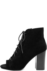 image Madden Girl Ryttee Black Suede Lace-Up Booties
