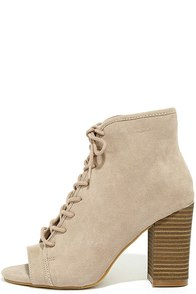 image Madden Girl Ryttee Taupe Suede Lace-Up Booties