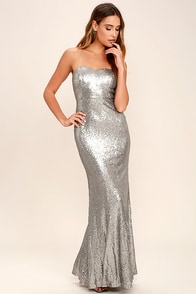 Majestic Muse Silver Strapless Sequin Maxi Dress
