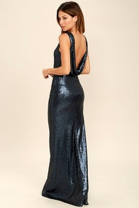 Slink and Wink Matte Navy Blue Sequin Maxi Dress