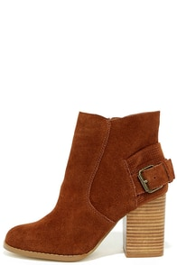 Sbicca Lorenza Cognac Suede Leather Ankle Booties
