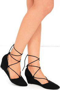 CL by Laundry Trissa Black Suede Lace-Up Wedges